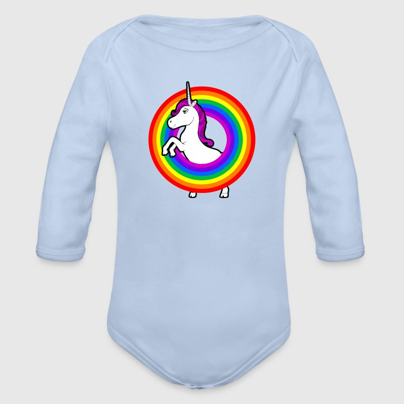 Unicorn in the rainbow - Organic Longsleeve Baby Bodysuit