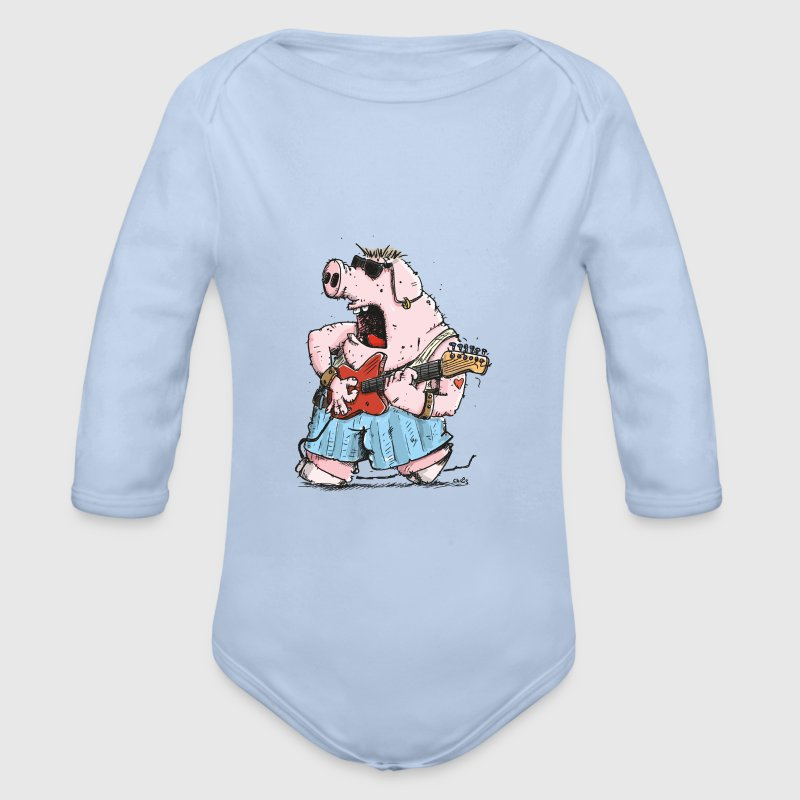 The Pig has the Blues Tops - Organic Longsleeve Baby Bodysuit