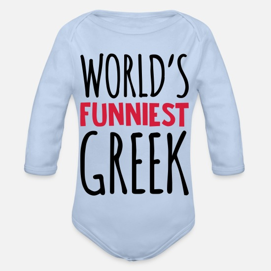 World Baby Clothes - worlds funniest greek - Organic Long-Sleeved Baby Bodysuit sky