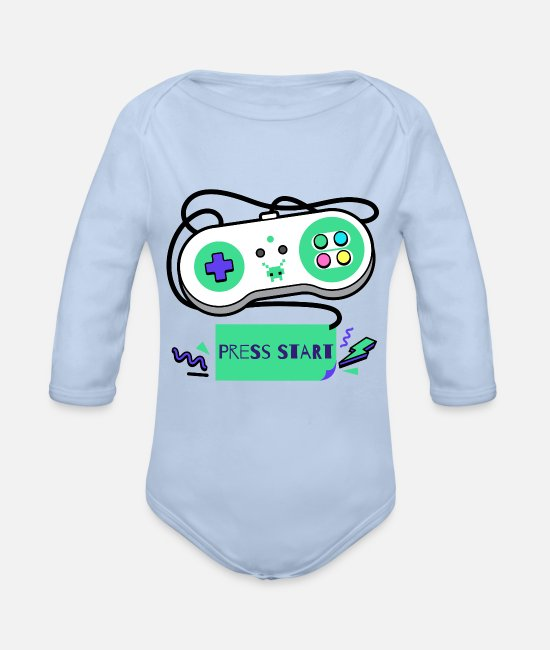 Play Baby Bodys - Press Start - controller level up play retro clan - Baby Bio Langarmbody Sky
