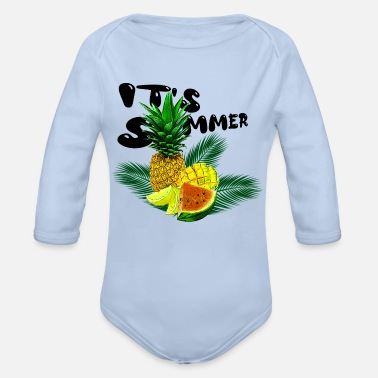Its Summer Fruits - fruity gift idea - Organic Long-Sleeved Baby Bodysuit