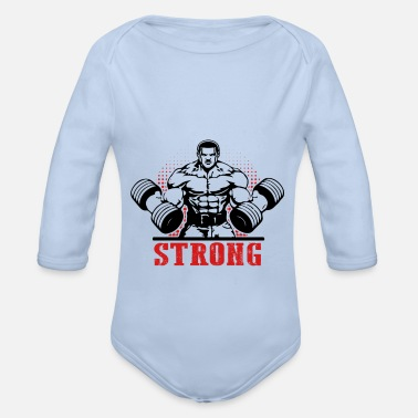 Powerlifting Strong powerlifting fitness bodybuilding - Organic Longsleeve Baby Bodysuit
