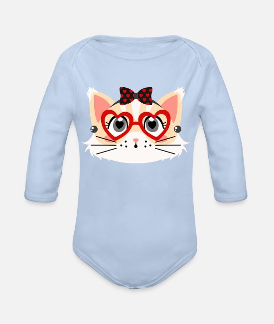 Cat Friends Baby Bodysuits - Retro pin-up red cat - Organic Long-Sleeved Baby Bodysuit sky