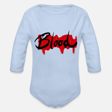 Blood-red Blood - blood red Halloween lettering - Organic Long-Sleeved Baby Bodysuit