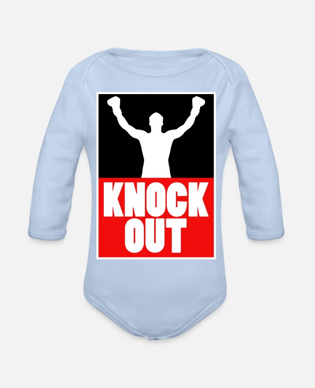 Martial Arts Baby Bodysuits - Boxing Knock Out Champion Boxer Sports Gift - Organic Long-Sleeved Baby Bodysuit sky