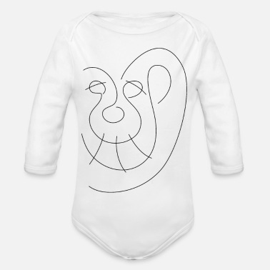 Line Art - Smiling Ape - Organic Long-Sleeved Baby Bodysuit