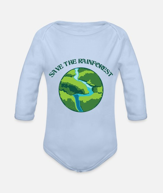 South America Baby Clothes - Rainforest protection is environmental protection - Organic Long-Sleeved Baby Bodysuit sky