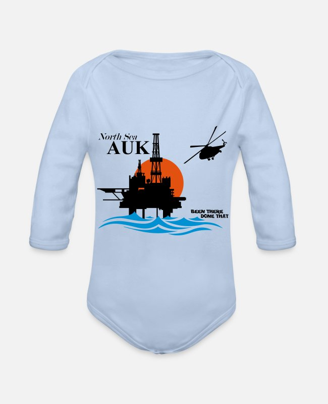 Office Baby Bodysuits - Auk North Sea Oil Rig Platform Aberdeen - Organic Long-Sleeved Baby Bodysuit sky