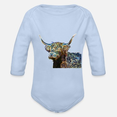 Multi Coloured Multi coloured Highland cow - Organic Long-Sleeved Baby Bodysuit