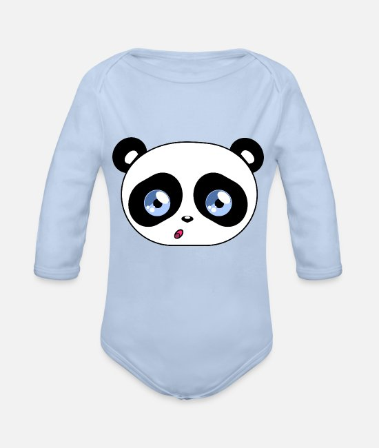 Cute Baby Bodysuits - Kawaii Panda Beady Eyes - Organic Long-Sleeved Baby Bodysuit sky