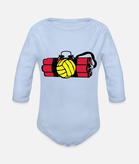 Wake Up Baby Bodysuits - dynamite bomb alarm volleyball waterpo - Organic Long-Sleeved Baby Bodysuit sky