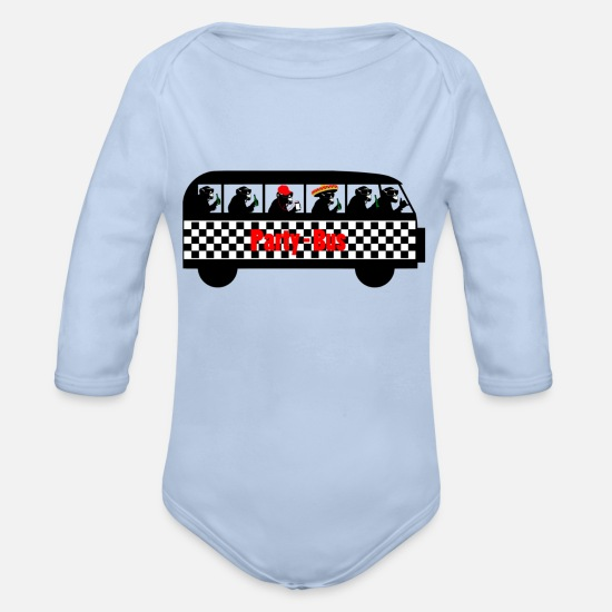 Bus Baby Clothes - Partybus - Organic Long-Sleeved Baby Bodysuit sky