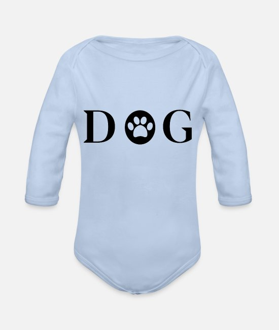 Cats Baby Bodysuits - Dog dogs dog - Organic Long-Sleeved Baby Bodysuit sky
