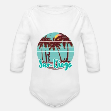 San Diego Beach Surf Girl - Organic Long-Sleeved Baby Bodysuit