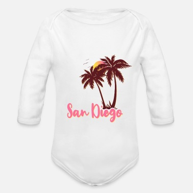 San Diego Palms Beach Sunset - Organic Long-Sleeved Baby Bodysuit