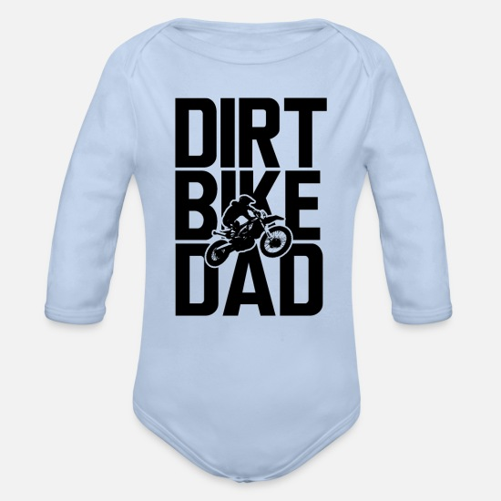 Play Baby Clothes - Dirt Bike Dad - Organic Long-Sleeved Baby Bodysuit sky