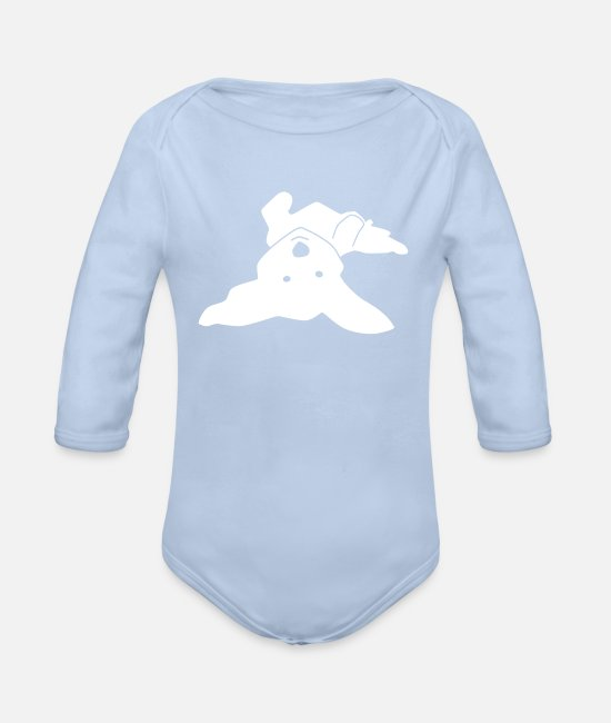 Doggie Baby Bodysuits - Havanese on his back - Organic Long-Sleeved Baby Bodysuit sky