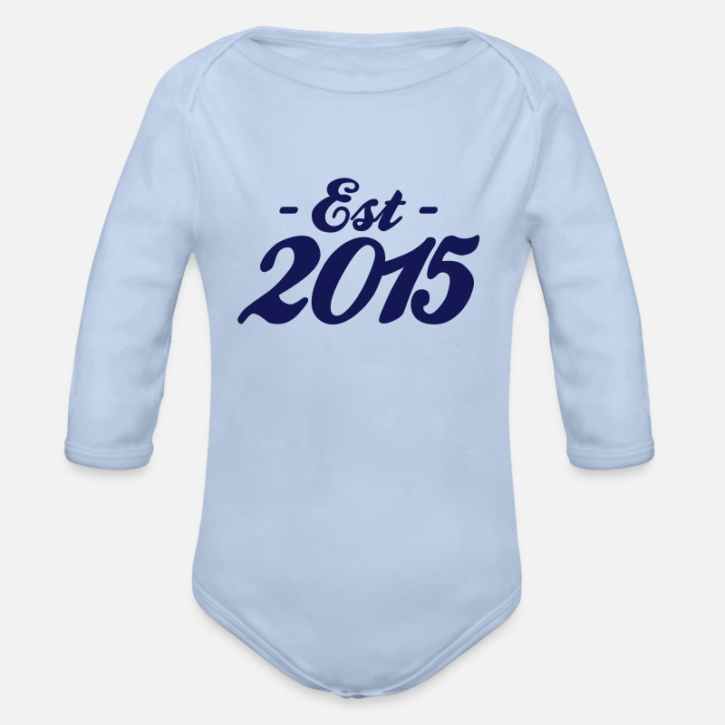 2015 Baby Clothing - established 2015 baby birth - Organic Long-Sleeved Baby Bodysuit sky