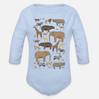 Africa animals - Organic Long-Sleeved Baby Bodysuit