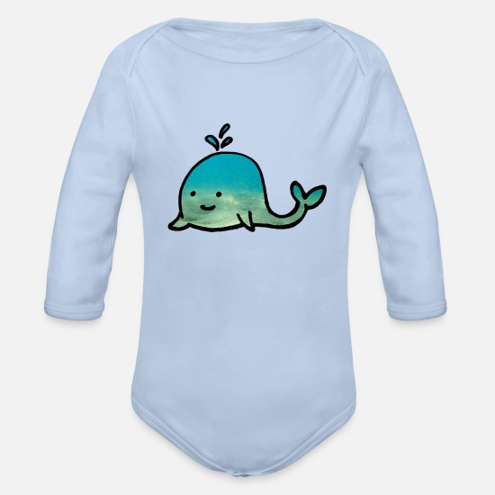Love Baby Clothes - little whale cute cute animal - Organic Long-Sleeved Baby Bodysuit sky