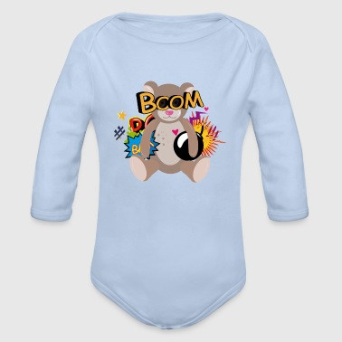 little teddy bear in comic style - Organic Longsleeve Baby Bodysuit