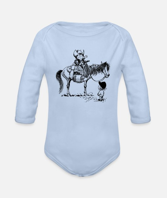 Dier Baby bodies - Thelwell 'Cowboy with Pony' - Rompertje met lange mouwen sky