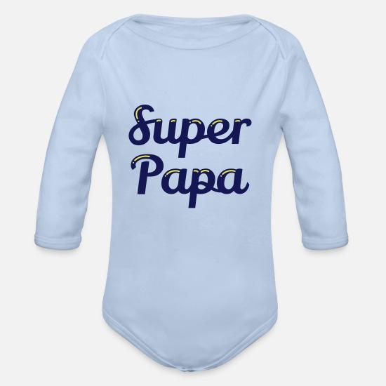 3ff4a0f364efb Papa Vêtements Bébé - Super Papa - Body Bébé bio manches longues ciel