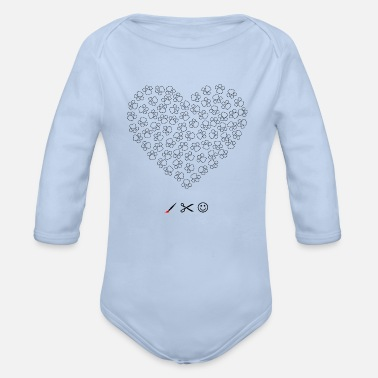Heart with dogs paw - Organic Long-Sleeved Baby Bodysuit