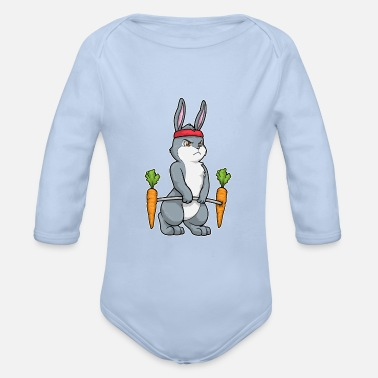 Floppy Ears with carrots doing bodybuilding with dumbbells - Organic Long-Sleeved Baby Bodysuit