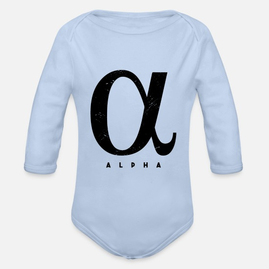 Travel Baby Clothes - ALPHA - Trendy design - Organic Long-Sleeved Baby Bodysuit sky