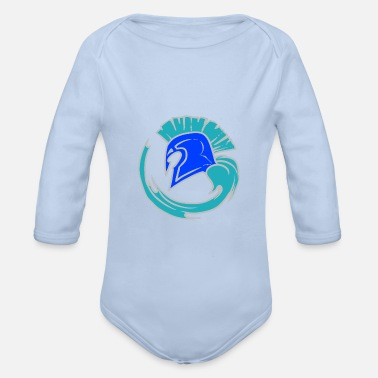 Leible Cool Blue Spartahelm - Leibl Designs - Organic Long-Sleeved Baby Bodysuit