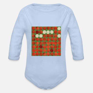 Apple Square apples pattern - red on green - Organic Long-Sleeved Baby Bodysuit