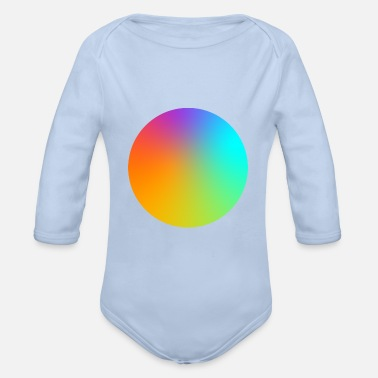 Multi Coloured Gradient Circle Multi-Coloured - Organic Long-Sleeved Baby Bodysuit