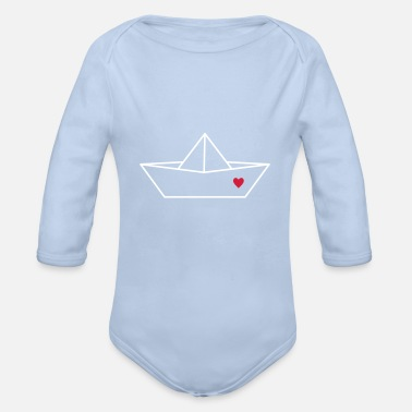 Piece Sailboat boat paper ship heart love gift - Organic Long-Sleeved Baby Bodysuit