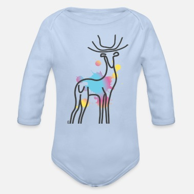 paint stag - Organic Long-Sleeved Baby Bodysuit
