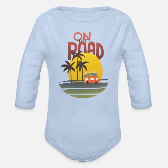 Bus Baby Clothes - on the road - Organic Long-Sleeved Baby Bodysuit sky
