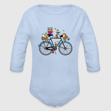 forest animals on a bike  - Organic Longsleeve Baby Bodysuit