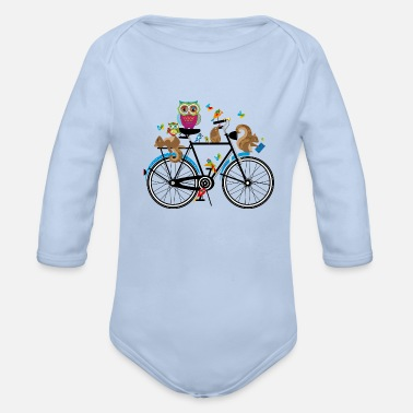 Cycling forest animals on a bike - Organic Long-Sleeved Baby Bodysuit
