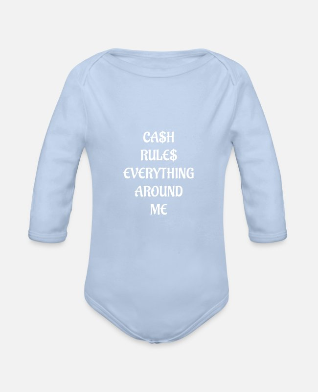Money Baby Bodys - Geld - Baby Bio Langarmbody Sky