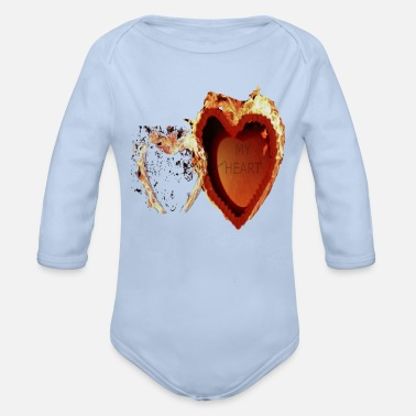 My Heart My Heart is on fire - Organic Long-Sleeved Baby Bodysuit