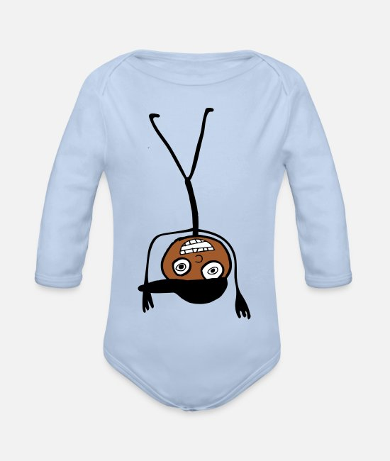 Doodle Baby Bodysuits - Kid In A Cap Handstand - Organic Long-Sleeved Baby Bodysuit sky