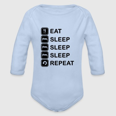 Eat, sleep, sleep, sleep, repeat - Body ecologico per neonato a manica lunga