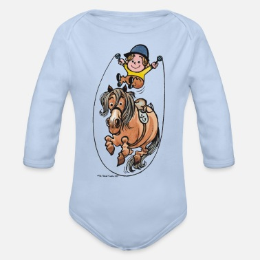 Thelwell Funny Rope Jumping Horse And Rider - Organic Long-Sleeved Baby Bodysuit