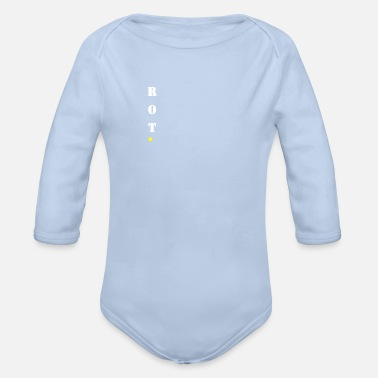 Red red stays red! Vertical design | gift idea - Organic Long-Sleeved Baby Bodysuit
