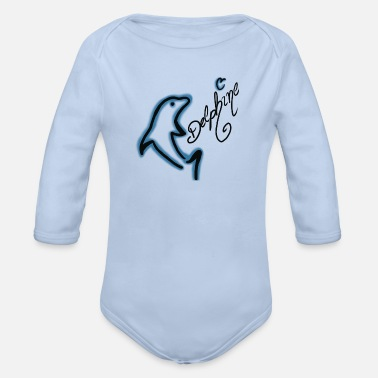dolphins - Organic Long-Sleeved Baby Bodysuit