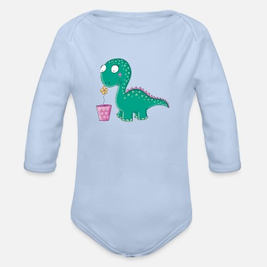 Little dinosaur with flowerpot - Organic Long-Sleeved Baby Bodysuit