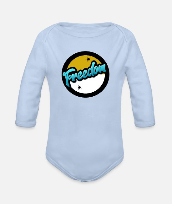 Freedom Fighters Baby Clothes - freedom - Organic Long-Sleeved Baby Bodysuit sky