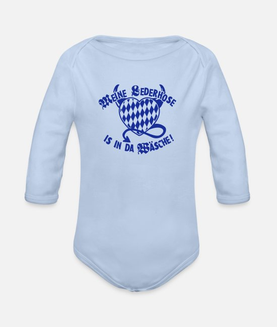 Satyr Baby Bodysuits - My leather pants is in there underwear! - Organic Long-Sleeved Baby Bodysuit sky