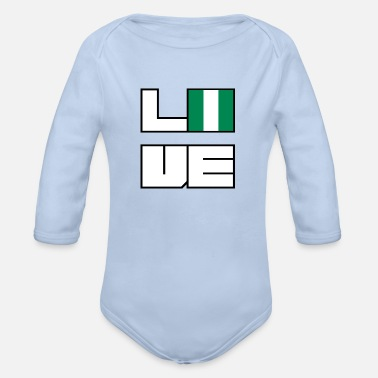 Love home roots roots Nigeria - Organic Long-Sleeved Baby Bodysuit