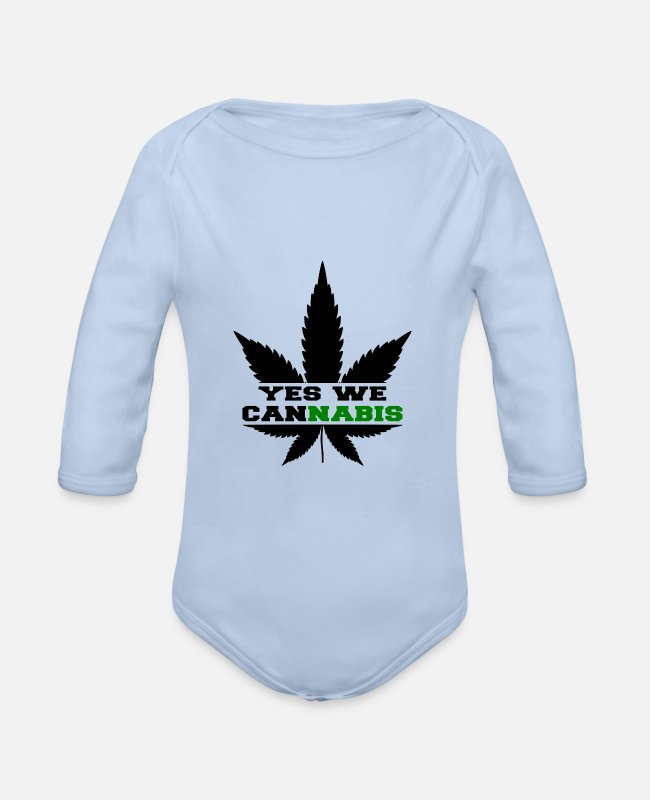 Cannabis Baby Bodysuits - Yes we cannabis - Organic Long-Sleeved Baby Bodysuit sky